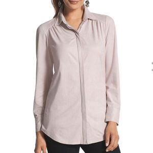 Chico's Pale Blush Pink Faux Suede Reza Top